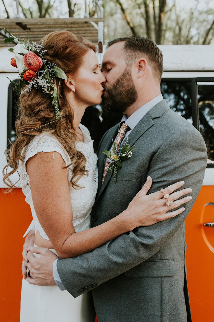 Bride and Groom Wedding Portrait with Orange VW Bus   Retro Vintage Boho Wedding Inspiration   Planner Glitz Events   Outdoor Venue Casa Lantana