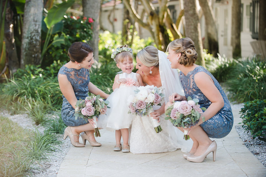 Bride Wedding Day Portrait in Ines di Santo Strapless Sweetheart Wedding Dress with Lace with White and Blush Pink Dusty Rose Wedding Bouquet with Succulents and Greenery and Slate Blue Grey Lace Bridesmaids Dresses | Clearwater Beach Wedding Photographer Marc Edwards Photographs