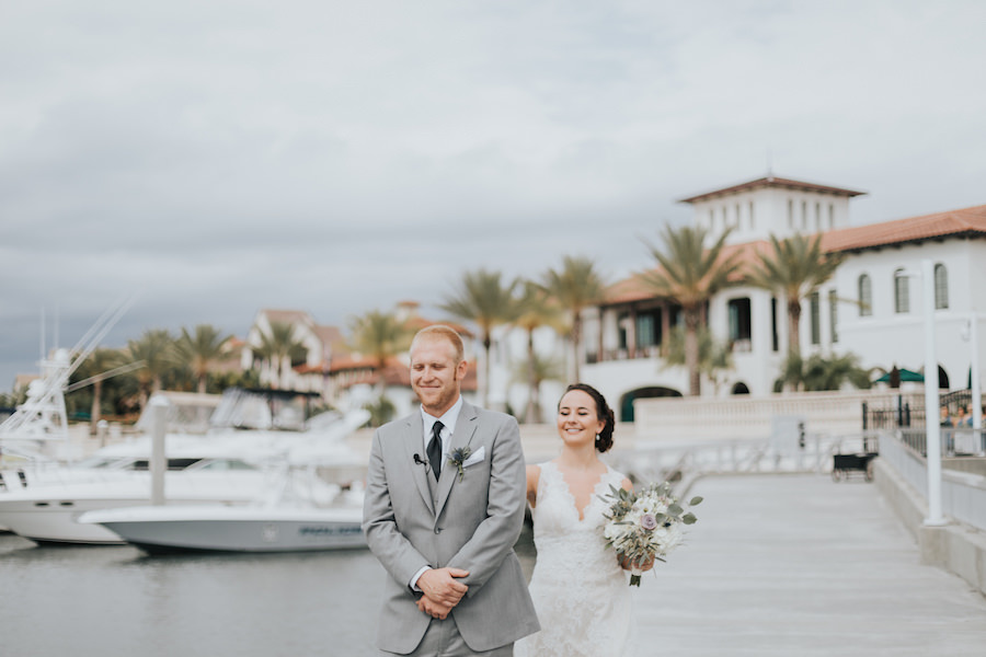 Bride and Groom Waterfront Wedding First Look Portrait | South Tampa Wedding Venue Westshore Yacht Club | Tampa Bay Wedding Videographer Bonnie Newman Creative | Tampa Bay Wedding Florist Wonderland Floral Art
