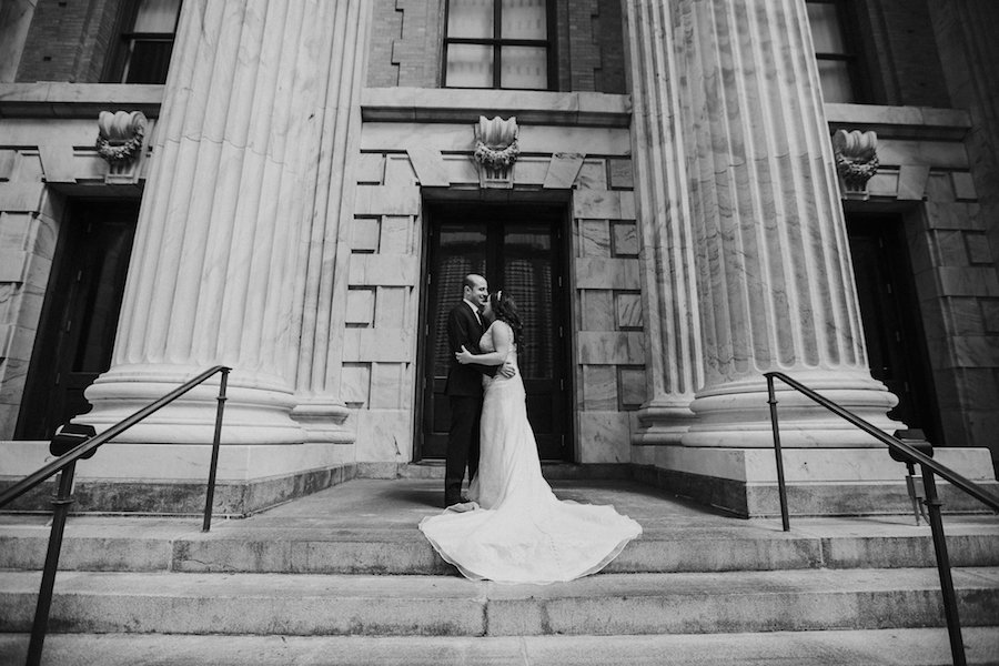 Bride and Groom Wedding Portrait in front of old Courthouse | Downtown Tampa Wedding Photographer Rad Red Creative