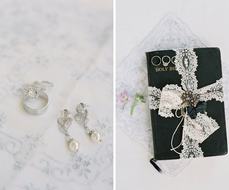 Bridal Jewelry: Diamond Earrings and Engagement Wedding Ring on Bible with Lace Ribbon