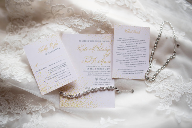 Elegant White and Gold Wedding Invitation