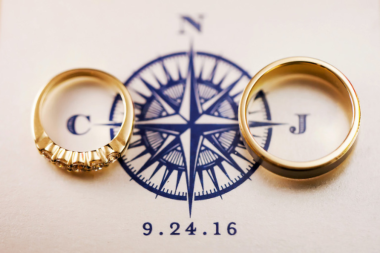 Gold Wedding Ring Bands with Blue Nautical Wedding Monogram