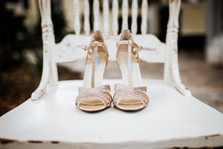 Betsey Johnson Glitter Sparkle Champagne Strappy Wedding Heels
