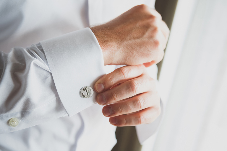 Groom Getting Ready Portrait | Nautical Wedding Cufflinks | St. Petersburg Wedding Photographer Brian C. Idocks Photographics