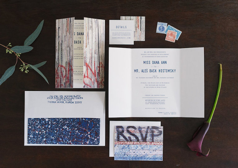 Graffiti Art Inspired Modern Wedding Invitation Suite