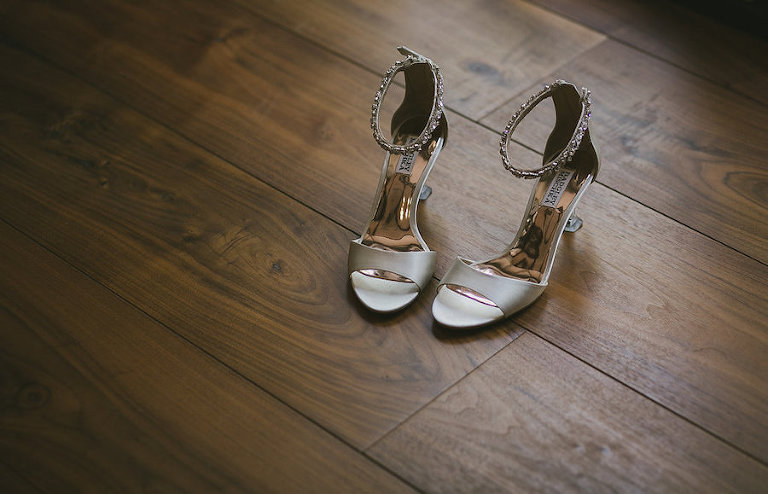 Silver Open Toe Badgley Mischka Wedding Bridal Shoes