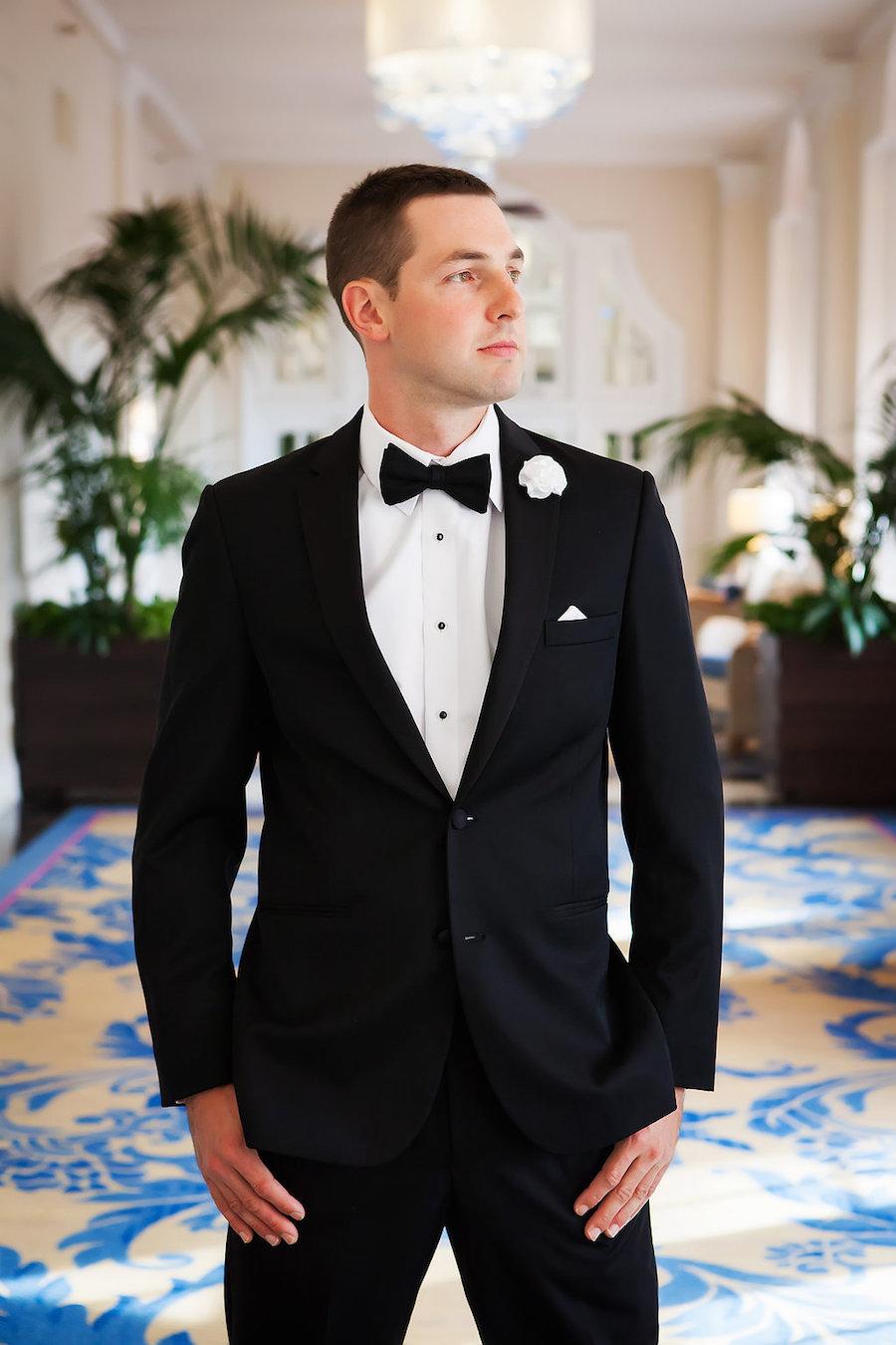 Florida Groom in Tuxedo Wedding Portrait by St. Pete Wedding Photographer Limelight Photography