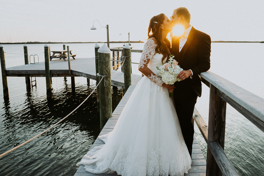 Waterfront Outdoor St Pete Bride and Groom Wedding Portrait | St. Pete Wedding Photographer Grind and Press Photography