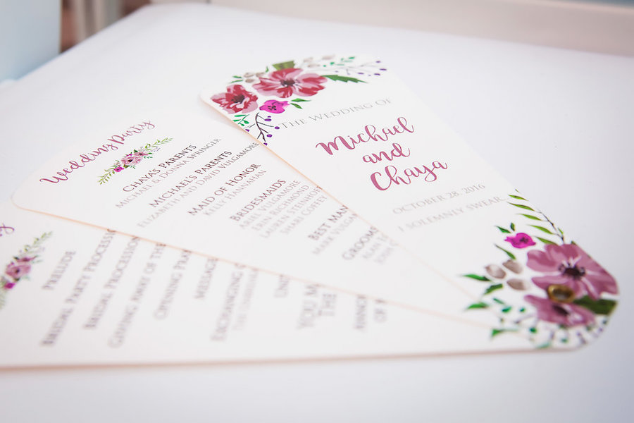 Wedding Ceremony Program Cards with Floral Detail