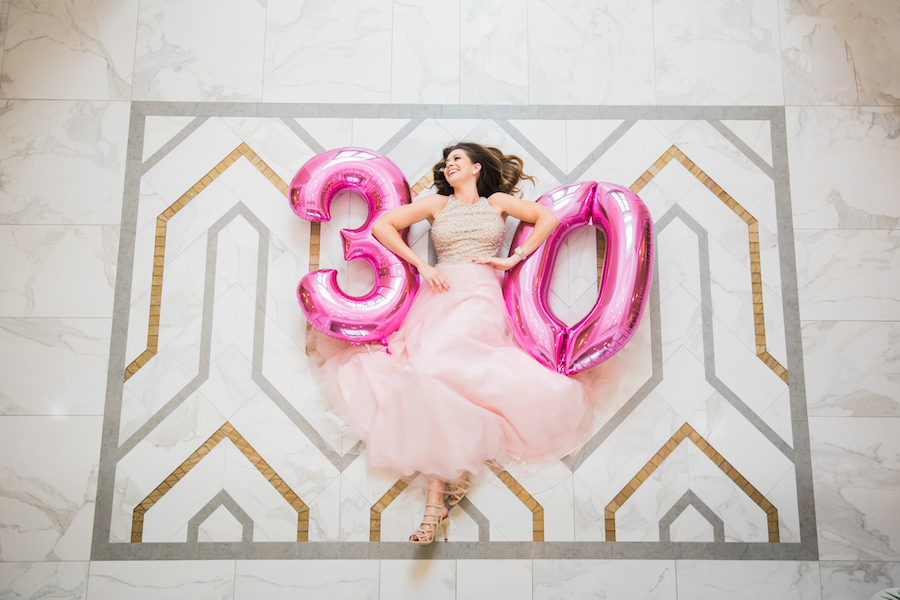 Big Pink 30 Balloons | Pink Birthday Party Dress from Lending Luxury | Modern Colorful Birthday Party Inspiration and Decor | Tampa Bay Portrait and Wedding Photographer Kera Photography | Hair and Makeup Michele Renee the Studio