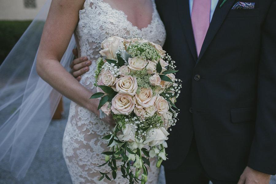 Peach Rose Wedding Bouquet with Greenery | Elegant Garden Wedding Decor and Inspiration