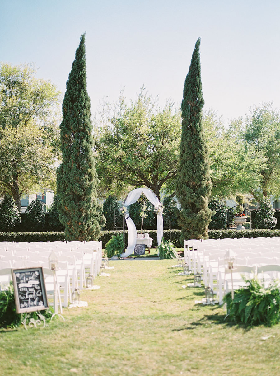 Outdoor Romantic Rustic Inspired Wedding Ceremony with White Folding ...