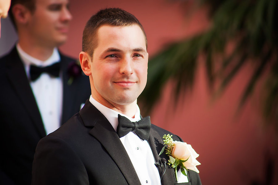 Wedding Ceremony Portrait of Florida Groom in Tuxedo Waiting for Bride by St. Pete Wedding Photographer Limelight Photography