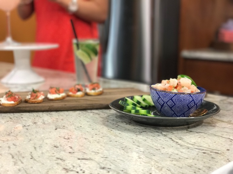 Watermelon + Feta Bruschetta and Deep Water Grouper Ceviche | Summer Themed Wedding Appetizers from Tampa Bay Wedding Caterer Saltblock Catering