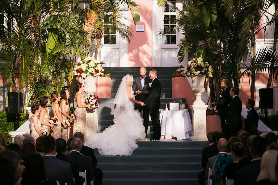 Outdoor St. Pete Florida Wedding Ceremony Portrait of Bride and Groom   St Pete Beach Wedding Venue The Don CeSar Hotel   Limelight Photography