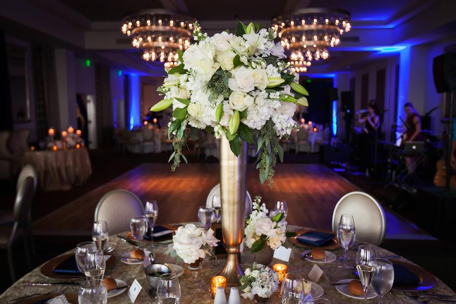 Tall White, Green and Gold Elegant Wedding Reception Centerpiece Flowers Decor | St. Petersburg Wedding Planner Parties a la Carte | Downtown St. Pete Hotel Wedding Venue The Birchwood