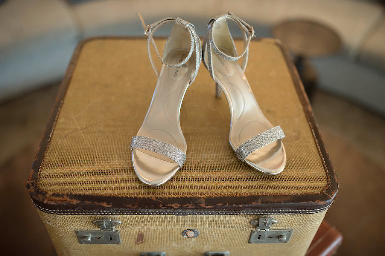 Vintage Suitcase and Silver Open Toe Strappy Wedding Shoes