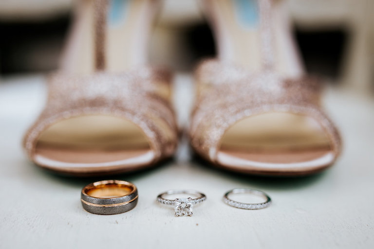 Bridal Engagement Ring and Wedding Rings Portrait with Betsey Johnson Glitter Sparkle Champagne Strappy Wedding Heels