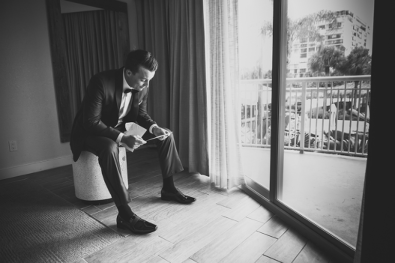 Groom Reading Bride Letter on Wedding Day | St. Petersburg Wedding Photographer Brian C. Idocks Photographics