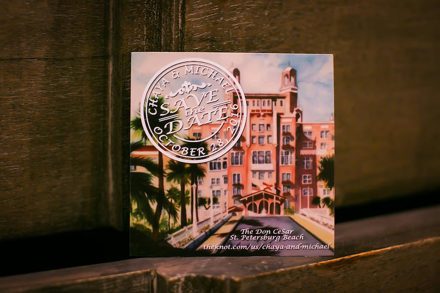 Custom St. Pete Beach Wedding Save the Date at Don CeSar Hotel