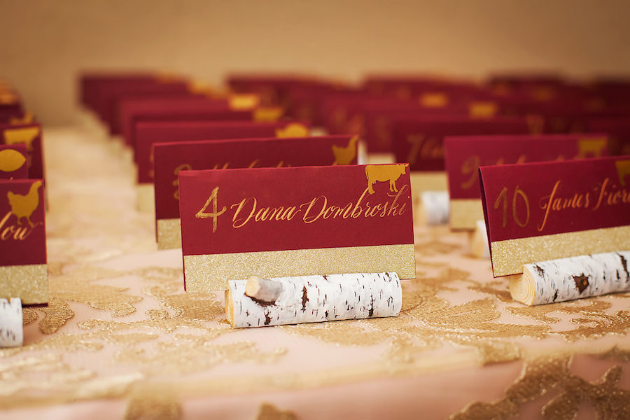 Burgundy and Gold Wedding Reception Birchwood Wedding Seating Card Table Number Holders