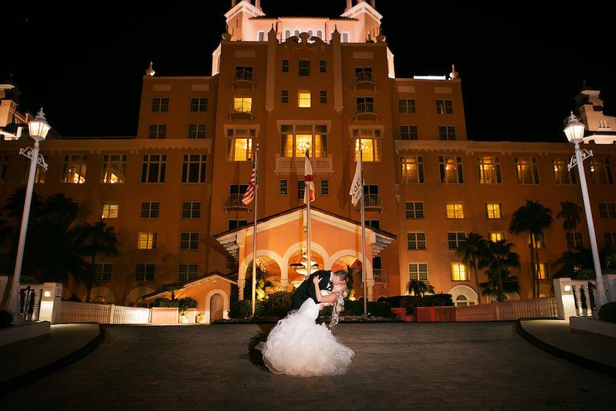 Florida Bride and Groom Outdoor Wedding Portrait at St. Pete Beach Wedding Venue Don CeSar Hotel | Pronovias Wedding Dress | Limelight Photography