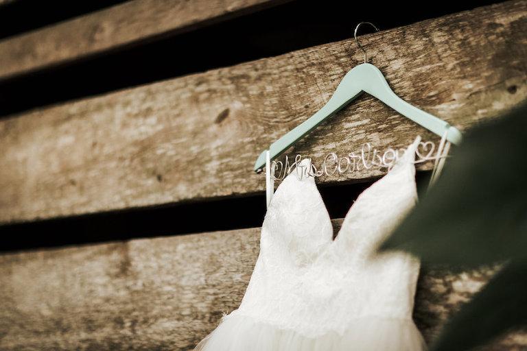 White Sweetheart Wedding Dress on Custom Mrs Personalized Hanger