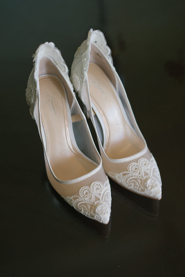Ivory Lace Closed Toed Wedding Shoes | Wedding Heels Inspiration