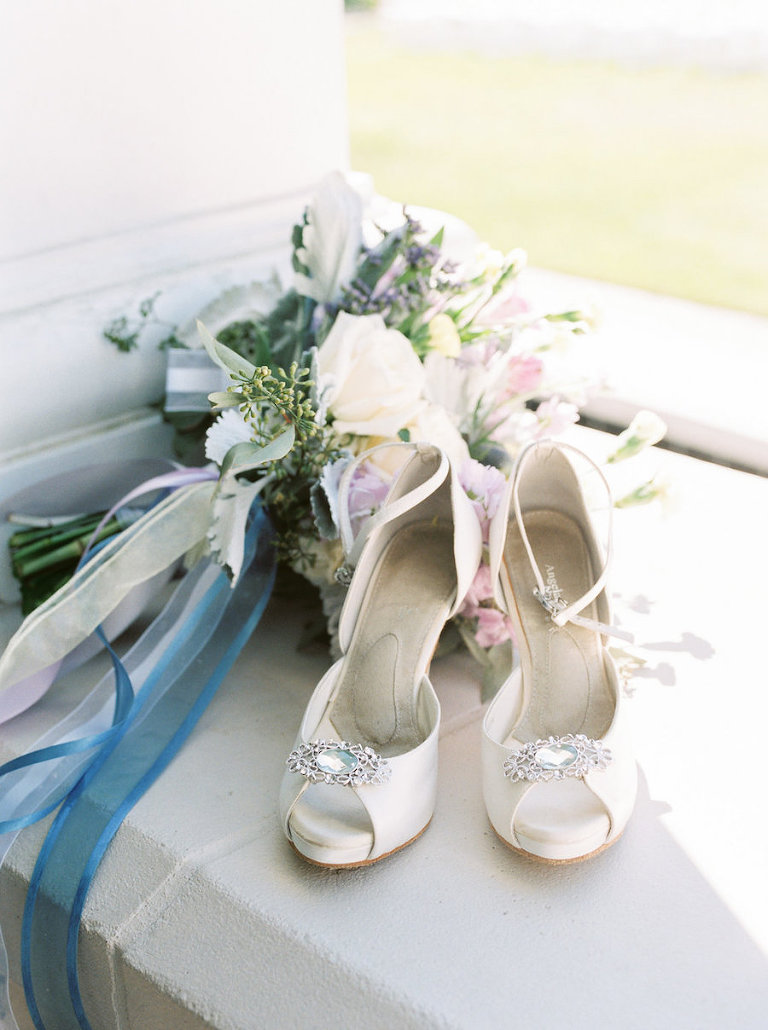 Bridal Peep Toe Ivory Wedding Shoes with Rhinestone Accent and Bridal Bouquet