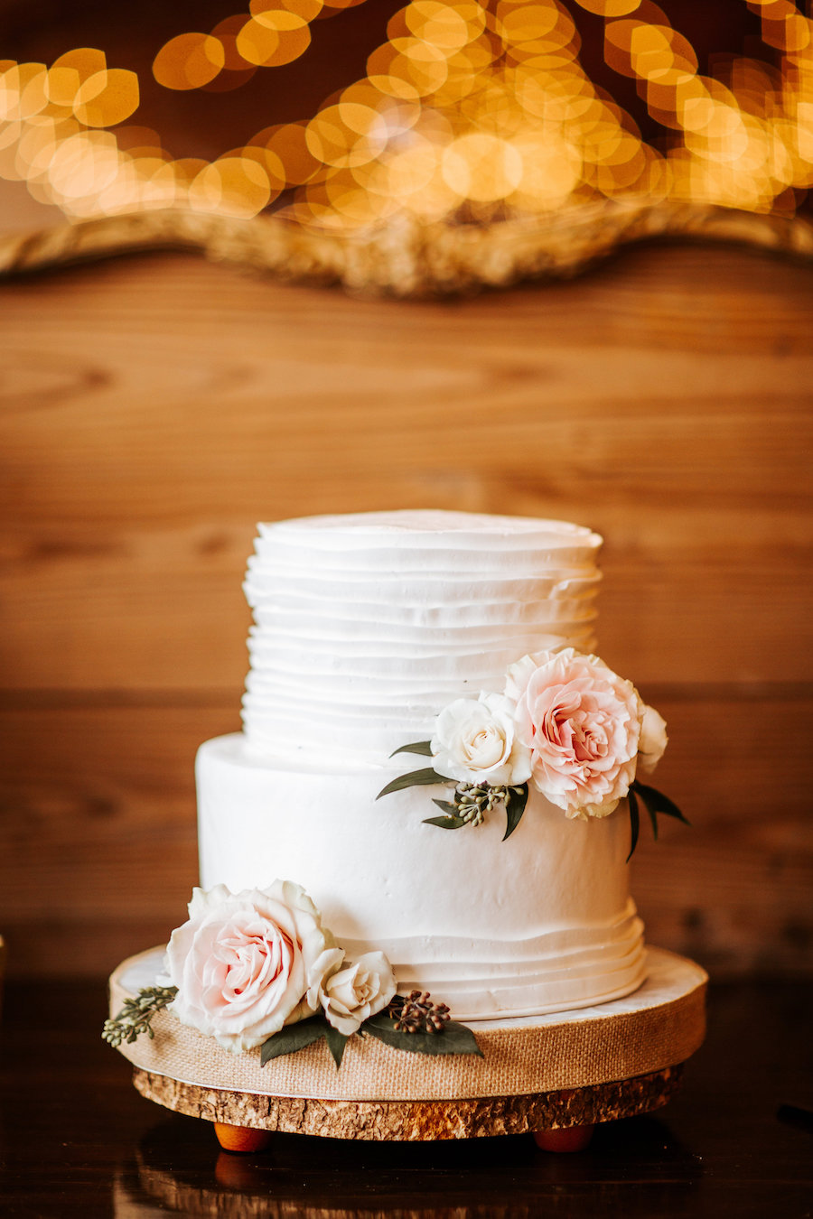 Rustic Inspired Wedding Dessert Bar With Two Tier White Ruffled Wedding Cake With Floral Accents By Alessi Bakery Marry Me Tampa Bay Local Real Wedding Inspiration Vendor Recommendation Reviews