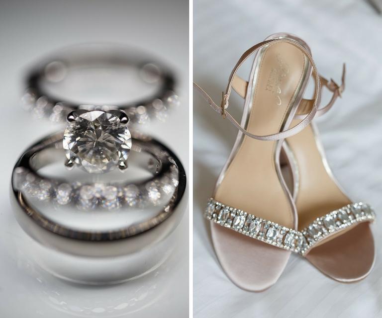 Round Diamond Engagement Ring and Rhinestone Open Toe Wedding Shoes