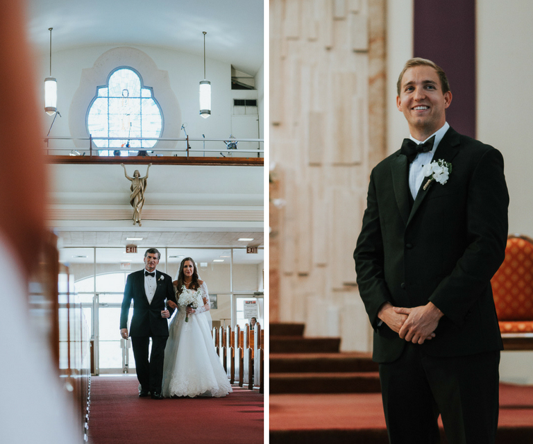 Bride and Father Walking Down the Aisle Wedding Ceremony Portrait| Groom's Wedding Ceremony Reaction Portrait | St. Pete Wedding Photographer Grind and Press Photography