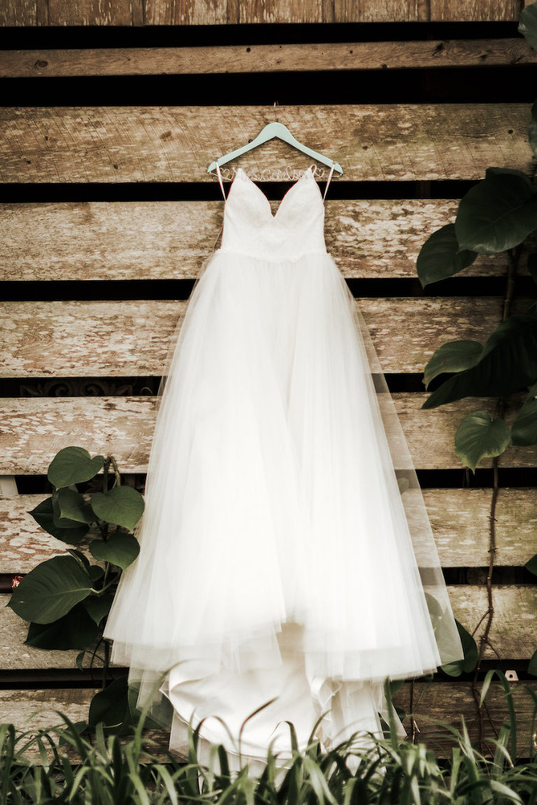 White Sweetheart Wedding Dress with Full Tulle Skirt and Lace Bodice