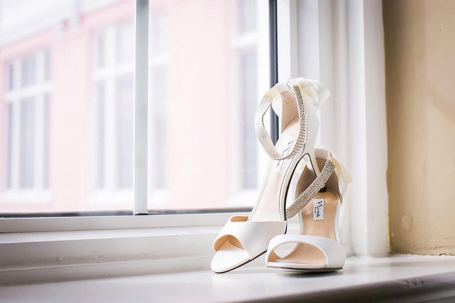 Ivory Peep-Toe Nina Wedding Shoes with Rhinestone Ankle Strap   Bridal Wedding Shoes