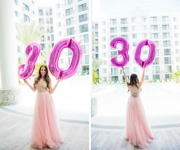 Big 30 Balloons | Pink Birthday Party Dress | Modern Colorful Birthday Party Inspiration and Decor | Tampa Bay Portrait and Wedding Photographer Kera Photography