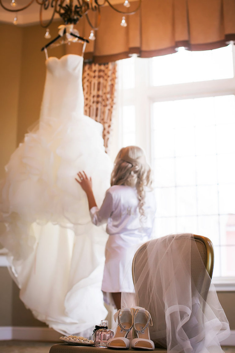Bridal Getting Ready Wedding Portrait |Ivory Strapless Drop Waist Pronovias Wedding Dress | Pronovias Wedding Dress | Tampa Wedding Photographer Limelight Photography