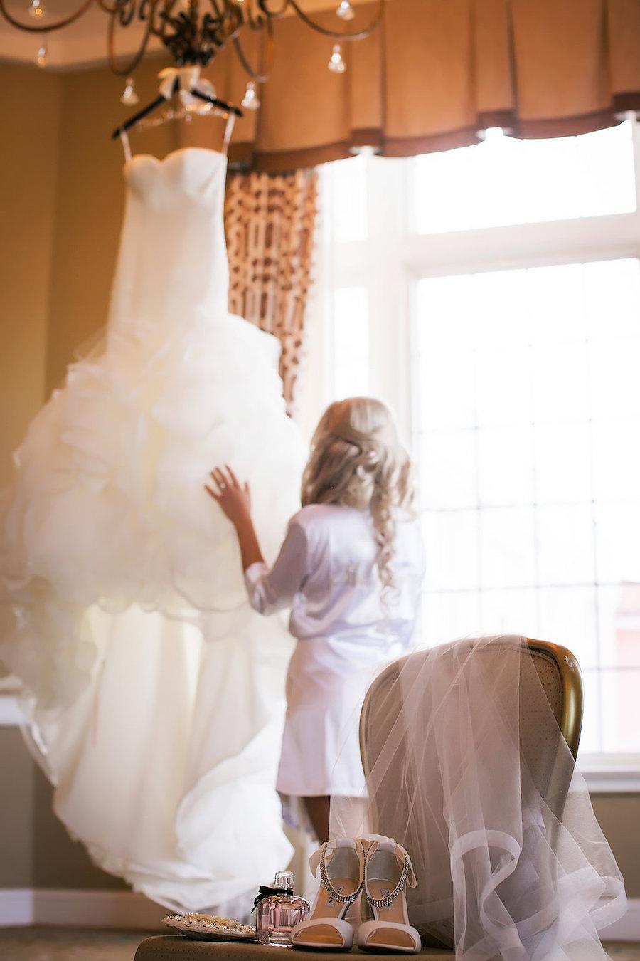 Bridal Getting Ready Wedding Portrait  Ivory Strapless Drop Waist Pronovias Wedding Dress   Pronovias Wedding Dress   Tampa Wedding Photographer Limelight Photography