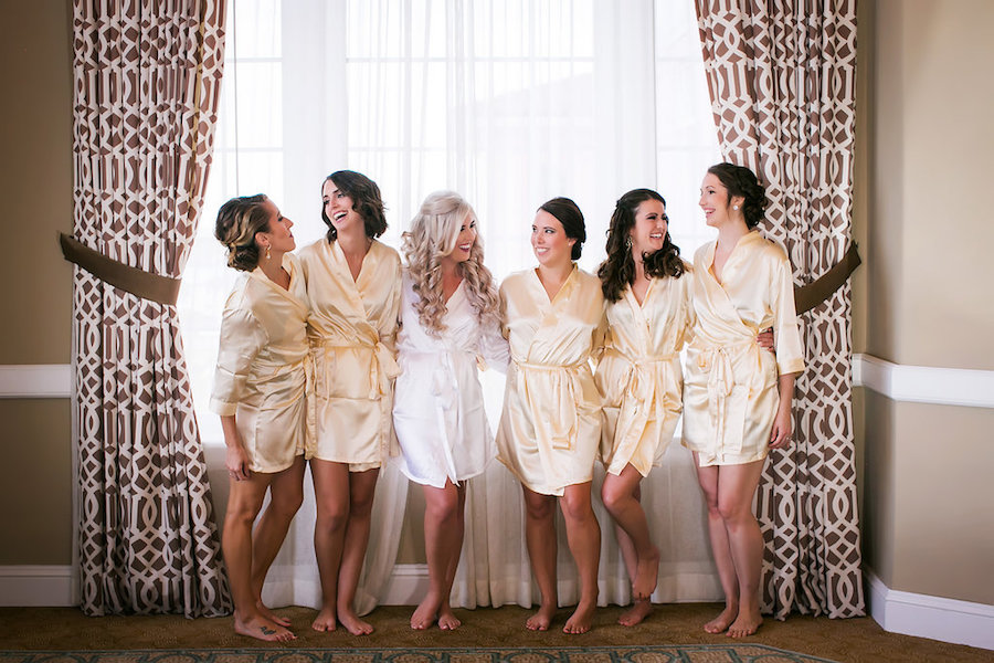 Bridal and Bridesmaids Getting Ready Wedding Portraits in Silk Robes   Tampa Wedding Photographer Limelight Photography