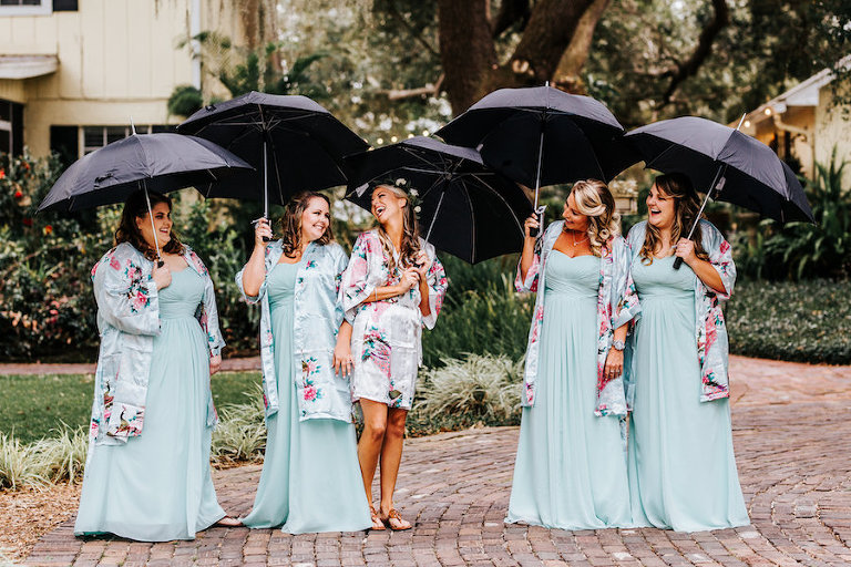 Bride and Bridesmaid Fun Getting Ready Wedding Portrait with Umbrellas and Silk Robes | Light Blue David's Bridal Bridesmaids Dresses