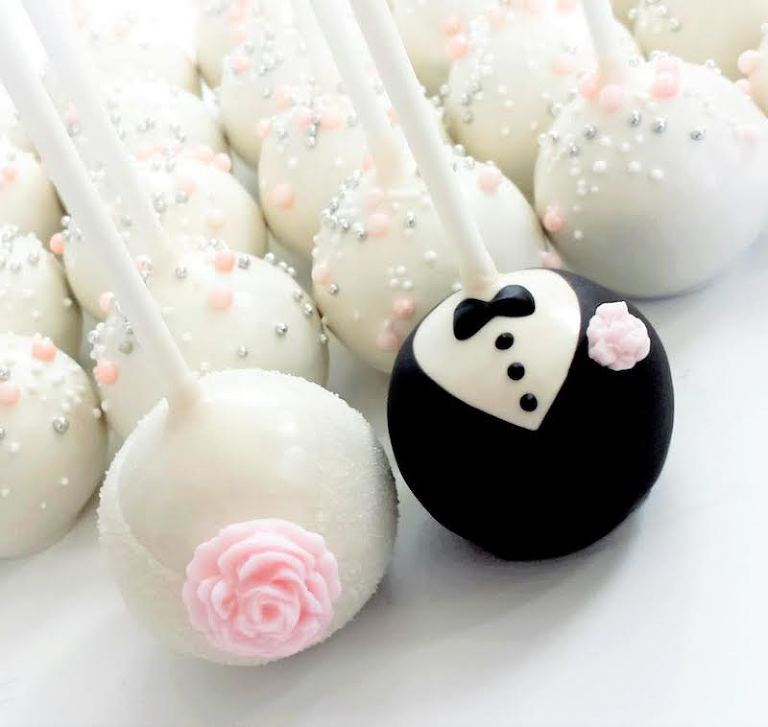 Bride and Groom Decorated Cake Pop Favors | Tampa Bay Wedding Desserts and Cake Pops by Sweetly Dipped Confections