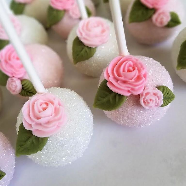 White and Pink Rose Decorated Cake Pop Favors | Tampa Bay Wedding Desserts and Cake Pops by Sweetly Dipped Confections
