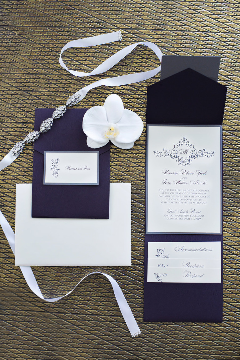 Elegant Sophisticated Black and White Wedding Invitation Suite