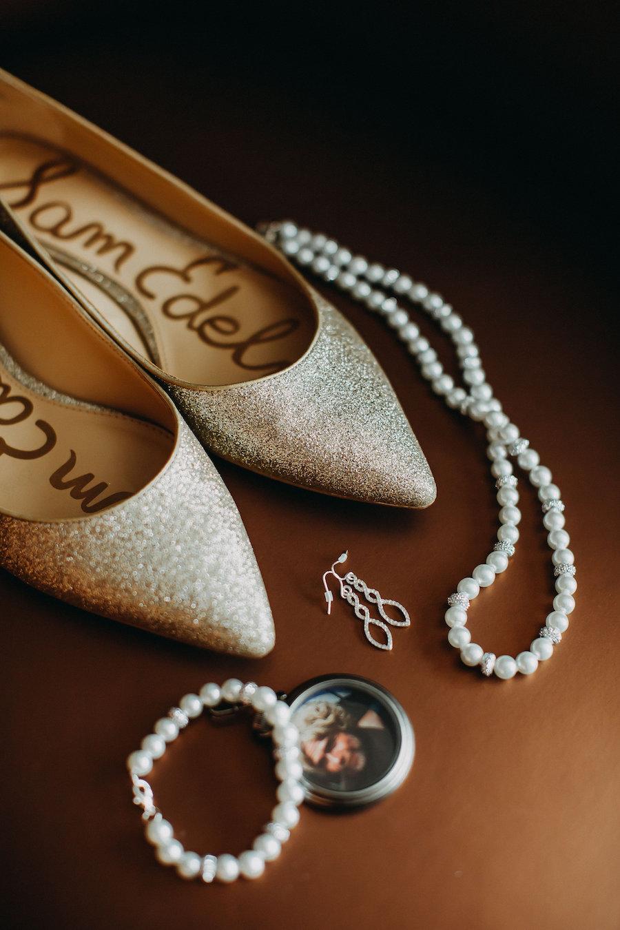 Gold Glitter Sam Edelman Wedding Shoes Flats with Bridal Jewelry