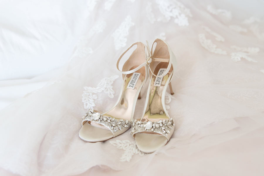 White-Ivory Open Toed Badgley Mischka Shoes with Rhinestone Accent