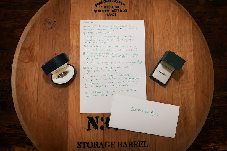 Bride and Groom Wedding Rings and Handwritten Letter to the Bride