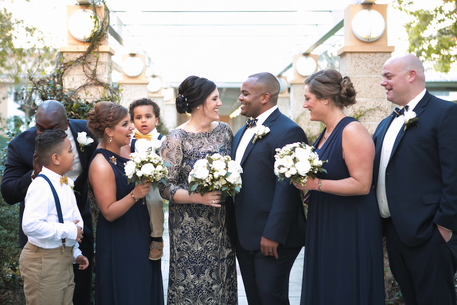 Classic Navy And Gold Wedding Bridal Party Portrait With Bride