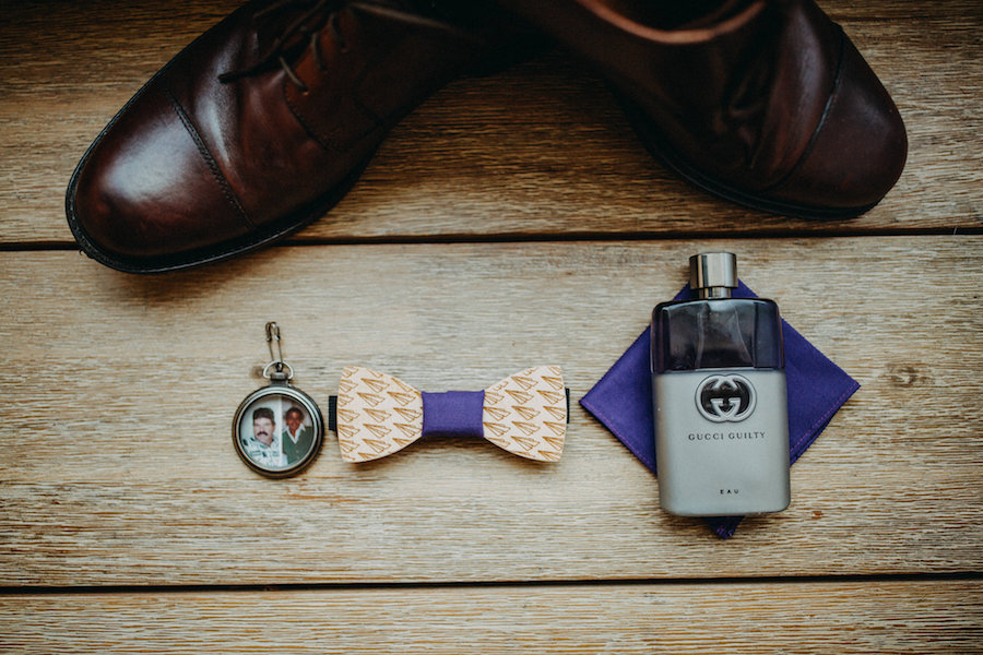 Groom Brown Weddings with Bowtie and Memory Charm Detail Photo