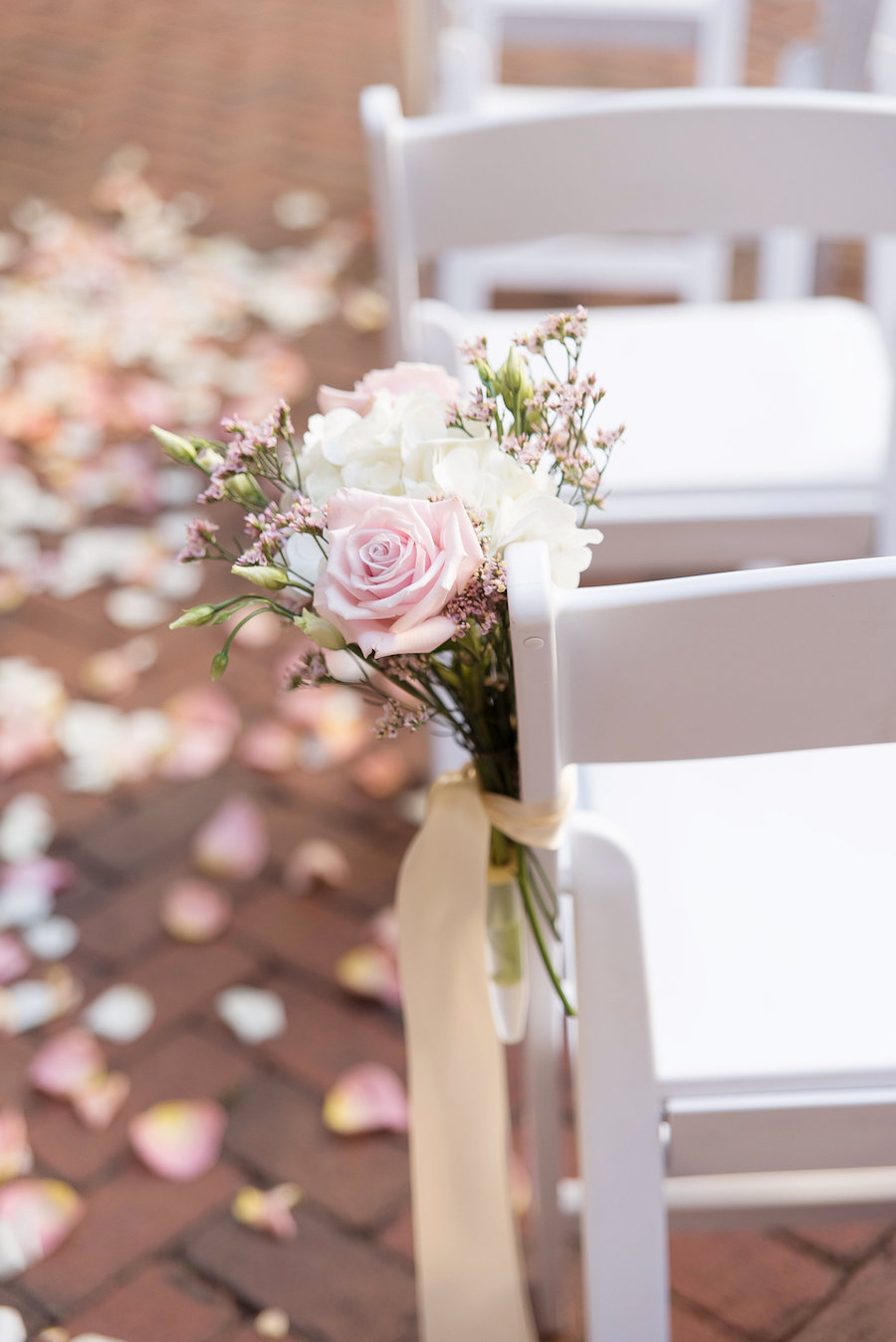 Detail Photo of White and Blush Rose and Greenery Ceremony Venue Decor by Tampa Bay Florist Wonderland Floral Art | St Petersburg Wedding