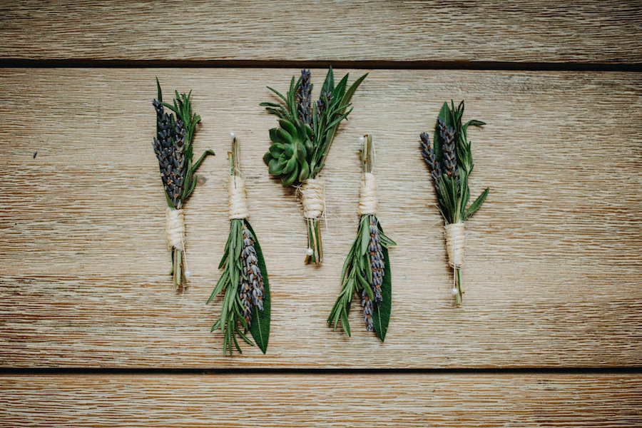 Lavender, Succulent and Rosemary Organic Groomsmen Wedding Boutonniere